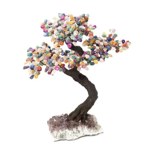 "Multi Colored Stone Bonsai Tree with Amethyst Base 19"" - 22"" - Karma and Luck 