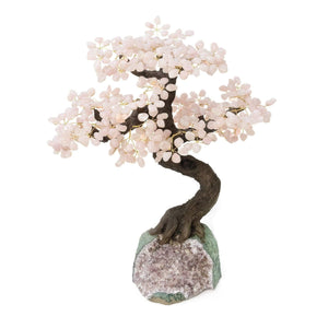 "Rose Quartz Bonsai Tree with Amethyst Base 19"" - 22"" - Karma and Luck 