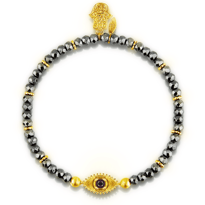 The Intuitive Eye Gold Hematite Beads Bracelet - Karma and Luck | Buy Online