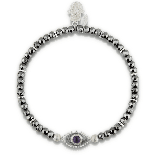 Evil Eye Womens Bracelet in Hematite and Sterling Silver - Karma and Luck | Buy Online