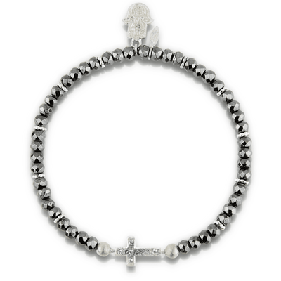 Cross Womens Bracelet in Hematite and Sterling Silver - Karma and Luck | Buy Online