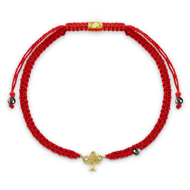 Initiate Growth Red Macrame Tree of Life Charm Gold Bracelet   - Karma and Luck | Buy Online