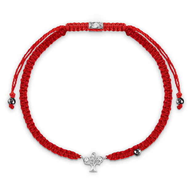 Initiate Growth Red Macrame Tree of Life Charm Silver Bracelet - Karma and Luck | Buy Online