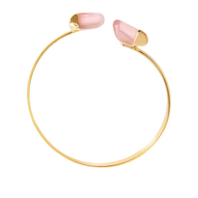 Fearless Love Rose Quarz Gold Cuff Armband