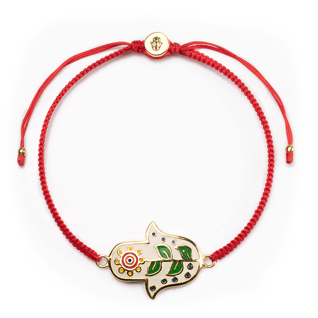 Cheerful Dreams Red Macrame Daisy Charm Bracelet - Karma and Luck | Buy Online