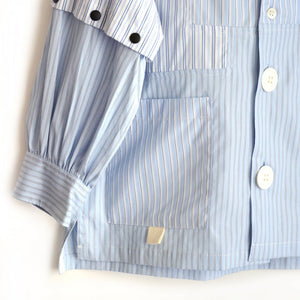 [GRIS] Stripe patchwork Shirt- Blue