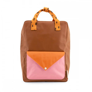 【sticky lemon】large backpack sprinkles | envelope | syrup brown + carrot orange + bubbly pink