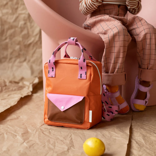 【sticky lemon】small backpack sprinkles | envelope | carrot orange + bubbly pink + syrup brown
