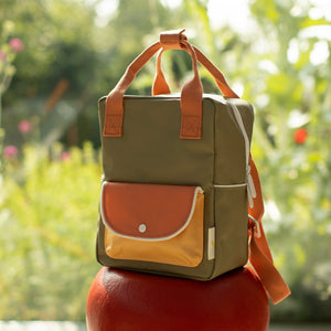 【sticky lemon】small backpack wanderer | seventies green + faded orange + retro yellow