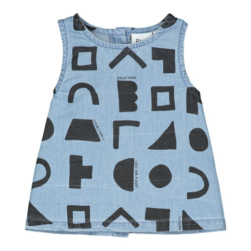 [BEAU LOVES][21SS] Washed Blue Chambray Positive Thoughts A Line Baby Top