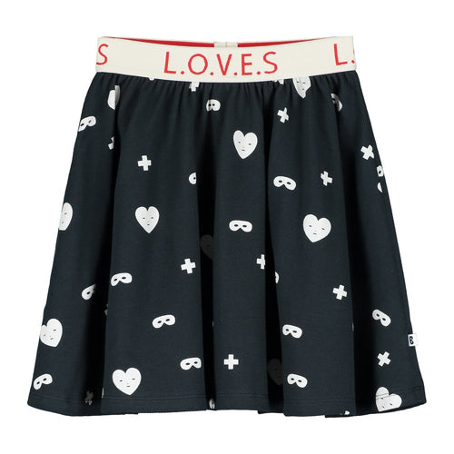 [BEAU LOVES][21SS] Black Hearts + Masks Circle Skirt