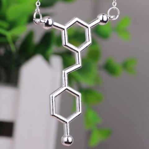 Red Wine Resveratrol Molecule Chemistry Necklace In Gold Or Silver