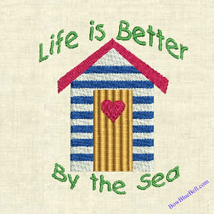 Beach Hut 4x4 Embroidery