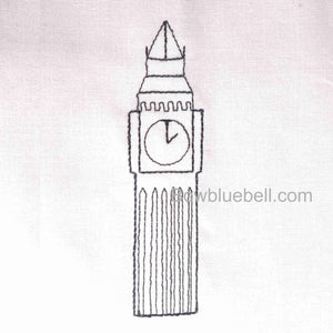 Instant Download Machine Embroidery file - Big Ben, Elizabeth tower, London UK