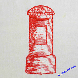 London Post Box Embroidery File for your Embroidery Machine. Instant download avaialable from BowBluebell