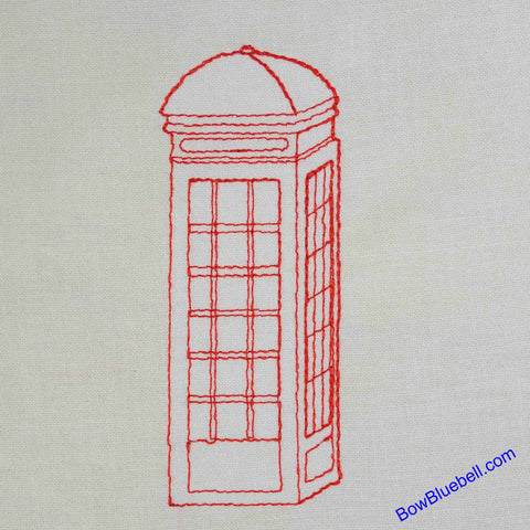 British Red Telpehome Box, Machine Embroidery File for instant download for use on Embroidery Machines.