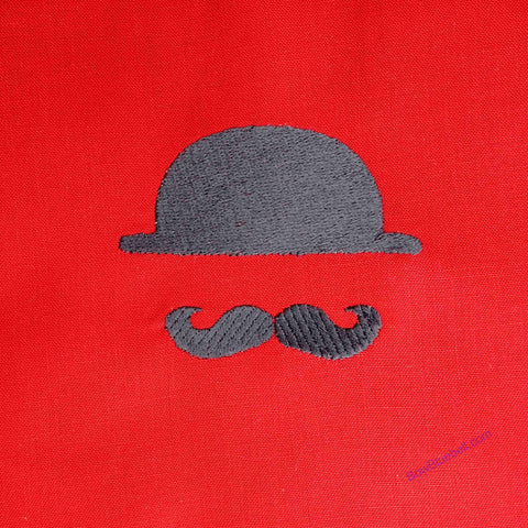 London ity Gent, Bowler hat and Moustache - Machine Embroidery File for instant download
