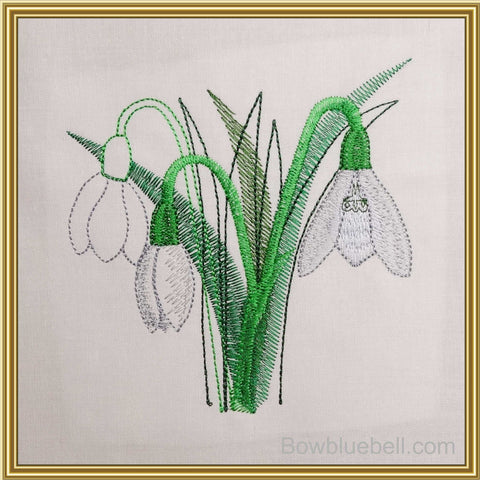 Snowdrops 5x5 Machine Embroidery