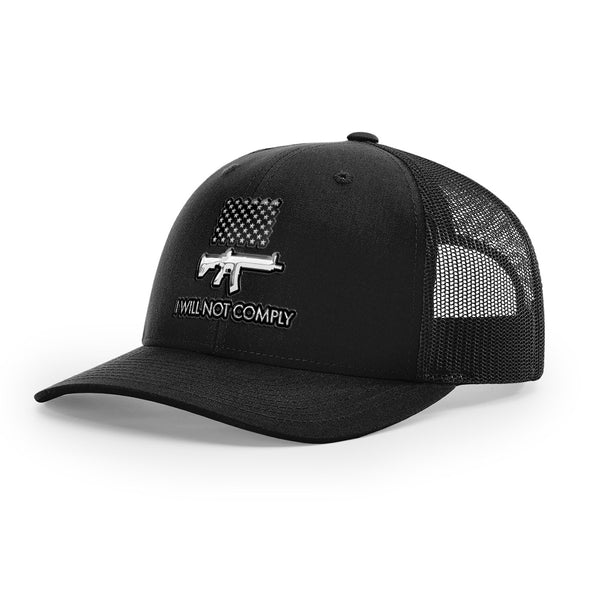 I Will Not Comply 3D Chrome Trucker Hat
