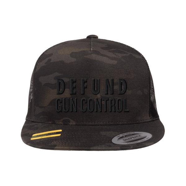 Defund Gun Control Trucker Hat Tactical Black MultiCam Snapback