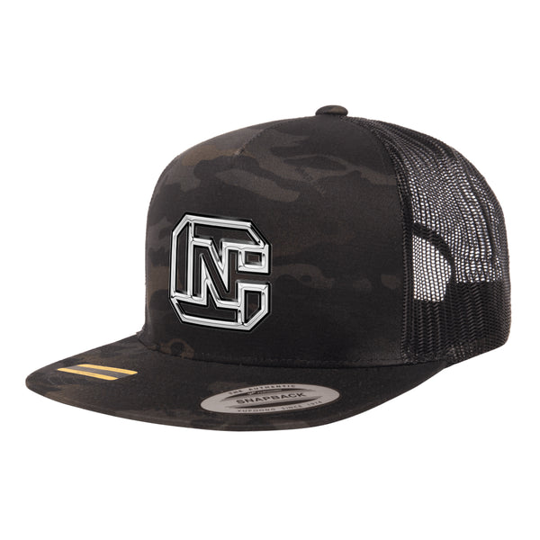 CN Logo 3D Chrome Black MultiCam Trucker Hat Snapback