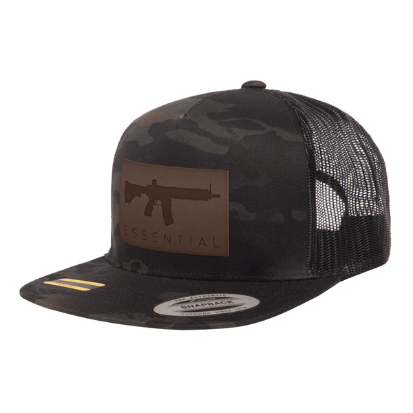 AR-15s Are Essential Leather Patch Black MultiCam Trucker Hat Snapback