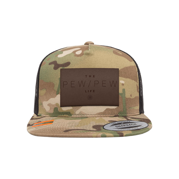 The Pew Pew Life Leather Patch Arid Trucker Hat Snapback