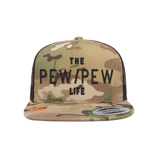 The Pew/Pew Life Tactical MultiCam Trucker Hat Snapback