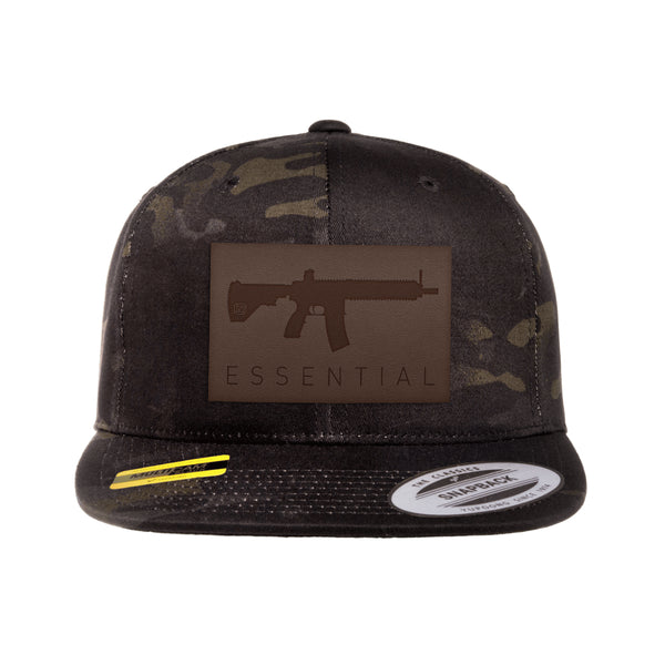 AR-15s Are Essential Leather Patch Black MultiCam Snapback