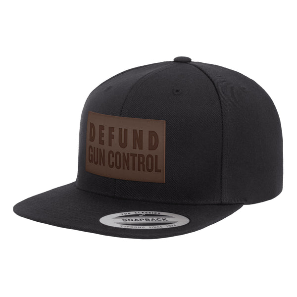 Defund Gun Control Leather Patch Snapback
