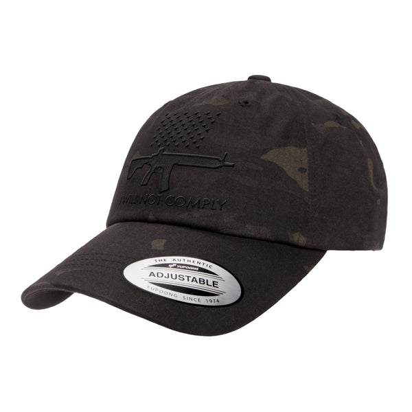 I Will NOT Comply Dad Hat Tactical Black MultiCam