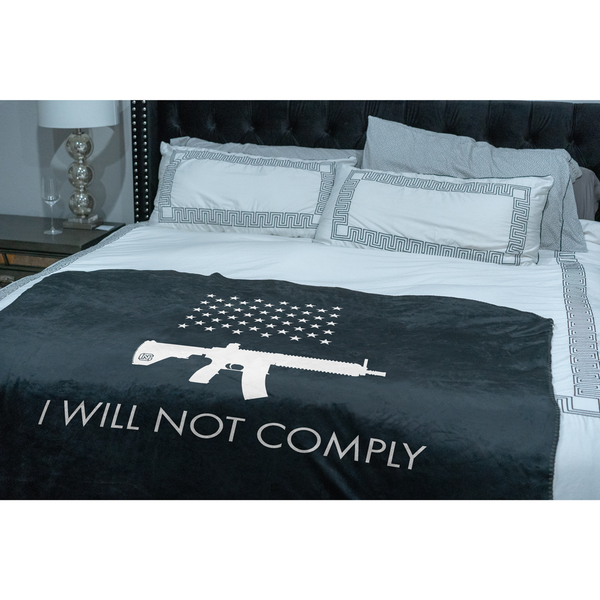 I Will NOT Comply with AR-15 Ban Sherpa Throw Blanket