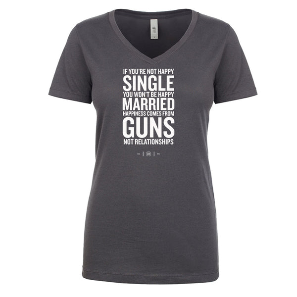 Happiness Comes From Guns Women's V Neck