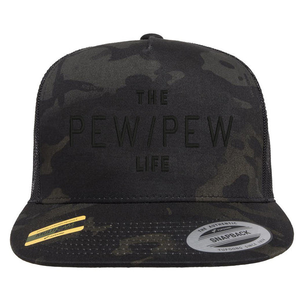 The Pew/Pew Life Tactical Black MultiCam Trucker Hat Snapback