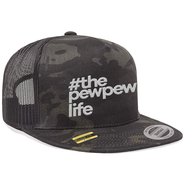 #ThePewPewLife Tactical Black MultiCam Trucker Hat Snapback