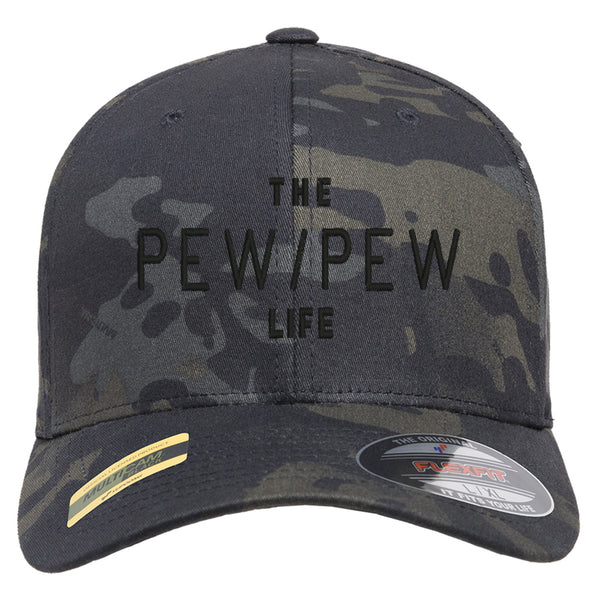 The Pew/Pew Life Tactical Black MultiCam Hat FlexFit