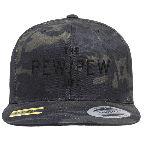 The Pew/Pew Life Tactical Black MultiCam Hat Snapback