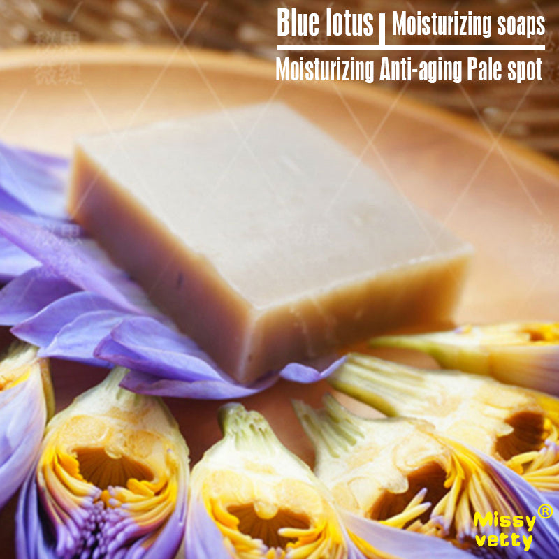 Blue Lotus moistening natural handmade SOAP face-wash Supplement moisture Cleansing Take a shower Skin care