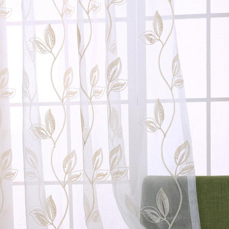 Pastoral Cotton Linen Fabrics Tulle Curtains for Bedroom Embroidered Leaves Fabric Translucent Window Screening Cloth Customized