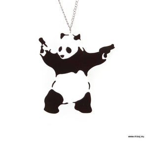 Banksy Panda With Guns Necklace