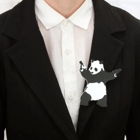Banksy Panda With Guns Brooch