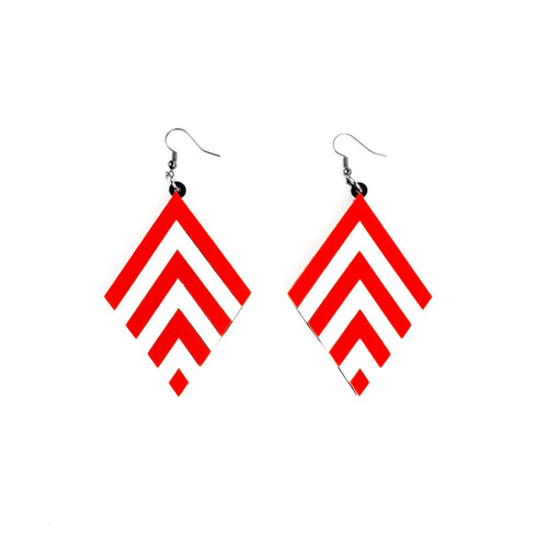 Red Chevron earrings