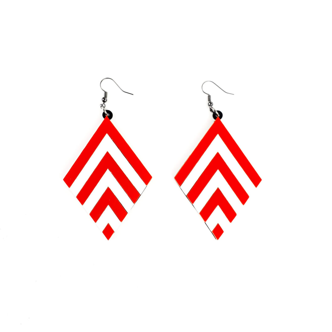Red Chevron earrings - MissJ Designs