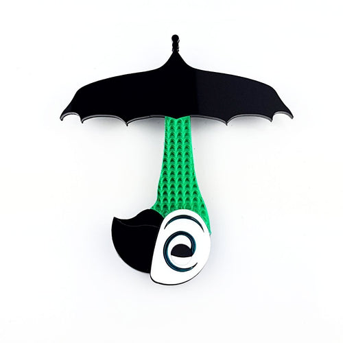 Mary Poppins umbrella brooch with parrot handle