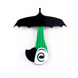 Mary Poppins umbrella brooch with parrot handle - MissJ Designs