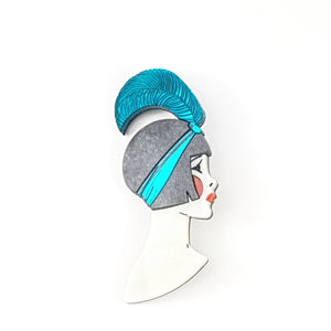Art Deco Lizzie Brooch Teal by www.missj.eu
