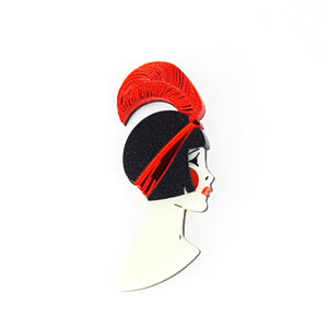 Art Deco Lizzie Brooch Red by www.missj.eu
