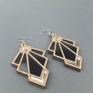 Art Deco Tulip Earrings Translucent Smokey Black Variant