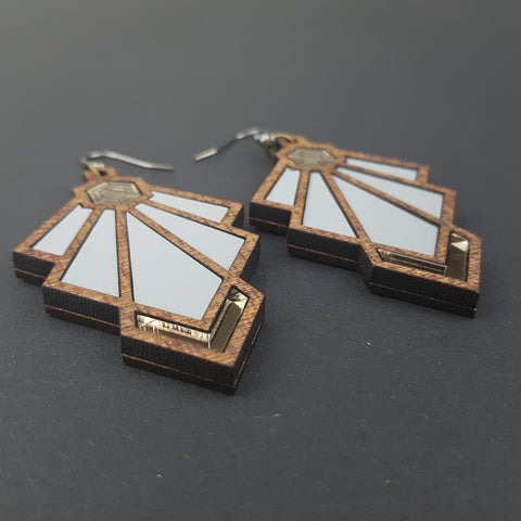 Art Deco Tulip Earrings Green Variant
