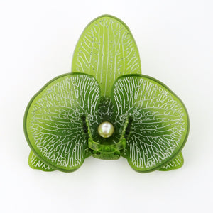 3d orchid brooch in frosted green acrylic with a fresh water pearl by missjdesigns